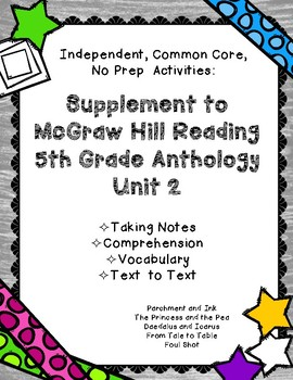 McGraw Hill Wonders 5th Gr. Anthology Unit 2 No Prep, Note Taking w/Questions