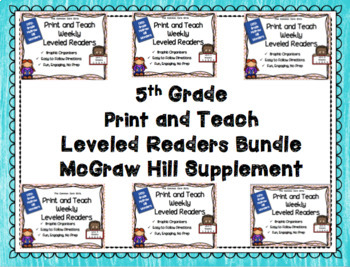 McGraw Hill Wonders 5th Grade Bundled Units 1-6 Print and Teach Leveled Readers