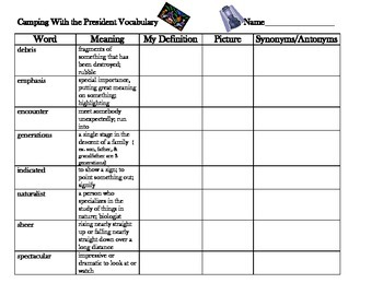 McGraw Hill Wonders 5th Grade, Camping with the President Vocabulary Organizer