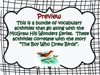McGraw Hill Wonders, 5th Grade - The Boy Who Drew Birds - Vocabulary Bundle