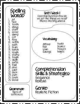 McGraw Hill Wonders 5th Grade Unit 1 Weekly Skills Sheets