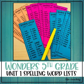 McGraw-Hill Wonders 5th Grade - Unit 1 Spelling Words
