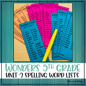 McGraw-Hill Wonders 5th Grade - Unit 2 Spelling Words