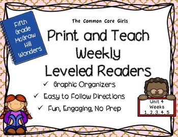 McGraw Hill Wonders 5th Grade Unit 4 Print and Teach Leveled Readers