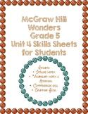McGraw Hill Wonders 5th Grade Unit 4 Skills Sheet