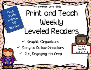 McGraw Hill Wonders 5th Grade Unit 6 Print and Teach Leveled Readers