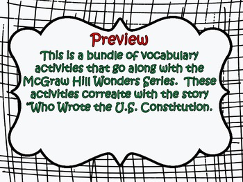McGraw Hill Wonders 5th Grade Who Wrote the US Constitution Vocabulary Bundle