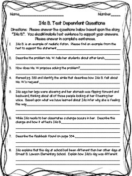 McGraw Hill Wonders, 5th - Ida B. Text Dependent Questions