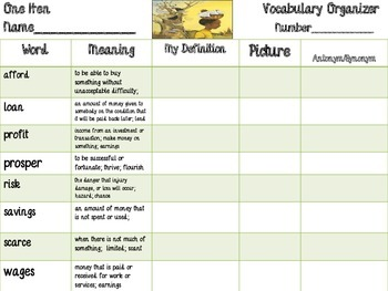 McGraw Hill Wonders, 5th - One Hen Vocabulary Organizer