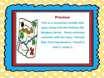 McGraw Hill Wonders, 5th - Second Day, First Impressions Vocabulary Bundle