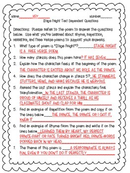 McGraw Hill Wonders, 5th - Stage Fright Text Dependent Questions
