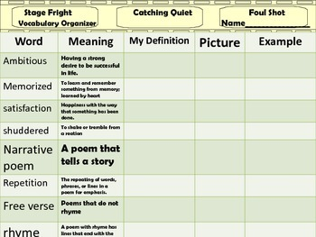 McGraw Hill Wonders 5th - Stage Fright Vocabulary Organizer