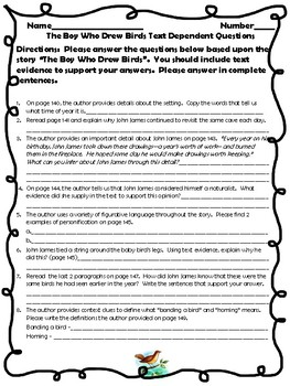"McGraw Hill Wonders - 5th ""The Boy Who Drew Birds"" Text Dependent Questions"