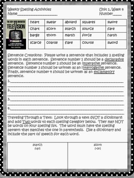 McGraw Hill Wonders, 5th - The Boy Who Invented TV Spelling Activity Sheet