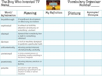 McGraw Hill Wonders, 5th - The Boy Who Invented TV Vocabulary Organizer