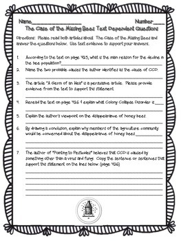 5th - The Case of the Missing Bees Text Dependent Questions