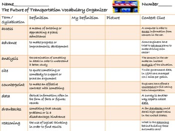 McGraw Hill Wonders, 5th - The Future of Transportation Vocabulary Organizer