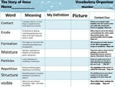 McGraw Hill Wonders, 5th - The Story of Snow Vocabulary Organizer