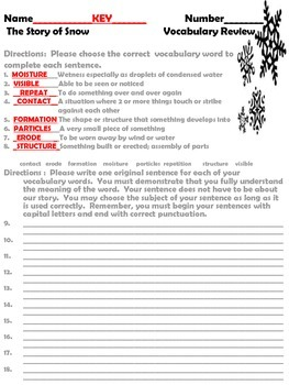 McGraw Hill Wonders, 5th - The Story of Snow Vocabulary Review