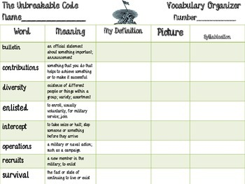 McGraw Hill Wonders, 5th - The Unbreakable Code Vocabulary Organizer