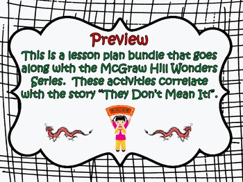 McGraw Hill Wonders, 5th - They Don't Mean It Vocabulary Bundle