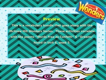 McGraw Hill Wonders, 5th - Words Free as Confetti Vocabulary Bundle