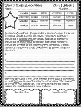 McGraw Hill Wonders, 5th - You are my Music Spelling Activity Sheet
