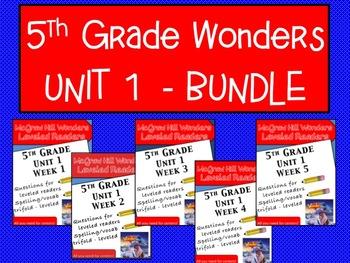 McGraw Hill Wonders 5th grade Unit 1 - Bundle