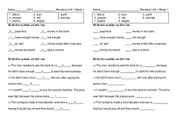 McGraw Hill Wonders 5th grade Unit 1 Week 1 Vocabulary Pretest