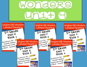 McGraw Hill Wonders 5th grade Unit 4 - Bundle