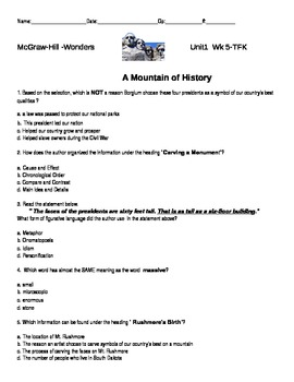 """McGraw-Hill-Wonders- """"A Mountain of History"""" quiz"""