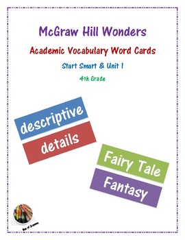 McGraw Hill Wonders Academic Vocabulary Words: Start Smart & Unit 1- Grade 4