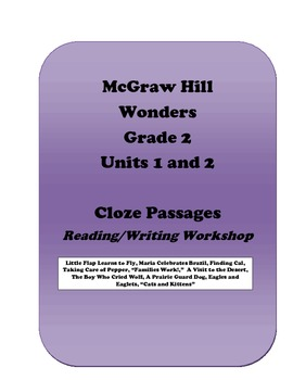 McGraw Hill Wonders Cloze Activities, Grade 2, Units 1 and 2