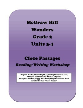 McGraw Hill Wonders Cloze Activities, Grade 2, Units 3 and 4