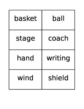 "McGraw Hill ""Wonders"" Compound Word Spelling Memory Game (Unit 5, Week 1)"