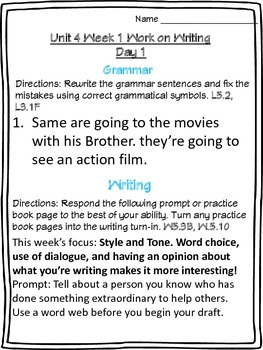 McGraw-Hill Wonders Daily Writing and Grammar Practice Unit 4