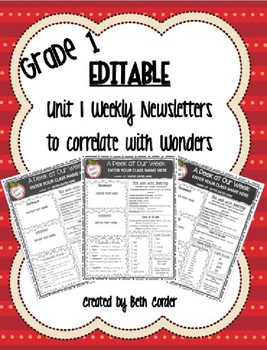 EDITABLE First Grade Weekly Newsletter Pack to Correlate with Wonders - UNIT 1