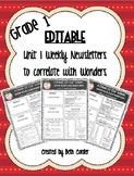 EDITABLE First Grade Weekly Newsletter Pack to Correlate w