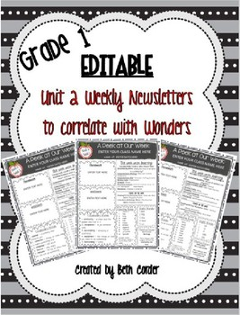 EDITABLE First Grade Weekly Newsletter Pack to Correlate with Wonders - UNIT 2