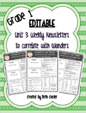 EDITABLE First Grade Weekly Newsletter Pack to Correlate with Wonders - UNIT 3