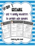 EDITABLE First Grade Weekly Newsletter Pack to Correlate with Wonders - UNIT 4