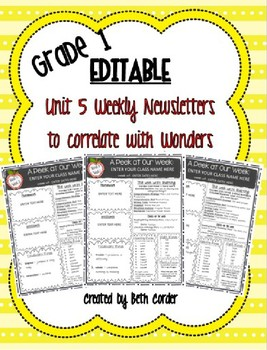 McGraw-Hill Reading Wonders EDITABLE First Grade Weekly Newsletter Pack - UNIT 5