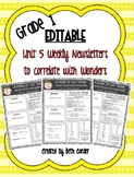 EDITABLE First Grade Weekly Newsletter Pack to Correlate with Wonders - UNIT 5