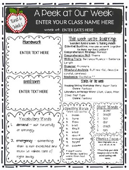 McGraw-Hill Reading Wonders EDITABLE First Grade Weekly Newsletter Pack - UNIT 6