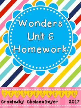 McGraw Hill - Wonders - EDITABLE Homework Packet - Unit 6 - Kindergarten