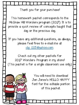 McGraw Hill - Wonders - EDITABLE Homework Packet - Unit 7 - Kindergarten