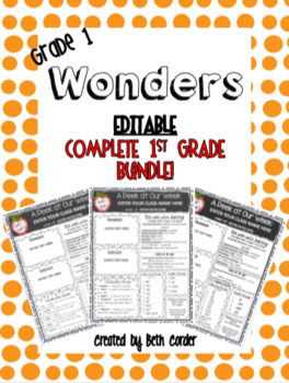EDITABLE 1st Grade Weekly Newsletter BUNDLE to Correlate with Wonders- UNITS 1-6