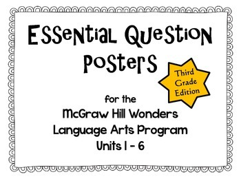 McGraw Hill Wonders Essential Question Posters - third grade