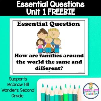 McGraw Hill Wonders Second Grade Essential Question Unit 1 Freebie