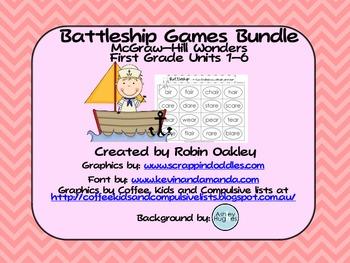 McGraw-Hill Wonders First Grade Battleship Games Bundle Units 1-6